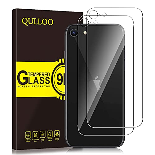 QULLOO Back Pellicola per iPhone SE (2020), [2 Piezas ] Pellicola Protettiva Posteriore Full Coverage Vetro Temperato Anti-graffio Copertina Completa Durezza per Nuovo Apple iPhone SE