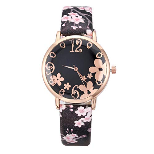 NICERIO Reloj de Pulsera - Elegante Reloj de Pulsera con Patrón de Flor de Ciruelo Reloj de Pulsera Reloj de Pulsera Reloj de Cuarzo para Mujer Niña