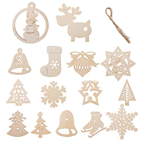 Kesote 30 Adornos Colgantes de Madera Árbol de Navidad Copo de Nieve para Decoración Navideña (15 Estilos)