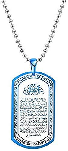 BACKZY MXJP Collar Joyería Islámica Militar De Acero De Titanio para Hombre, Collar con Colgante De Tótem Religioso Árabe, Longitud 60Cm Collar