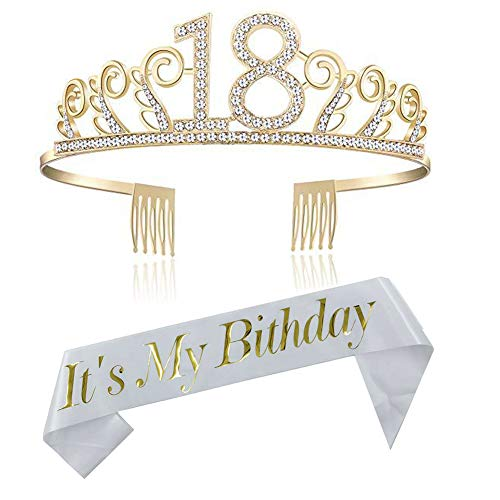 REYOK Geburtstags Krone 18. Geburtstags Kristall Tiara Krone mit 18 Today Geburtstags Schärpe Birthday Crown Prinzessin Kronen Haar-Zusätze - Silber für Geburtstagsfeiern oder Geburtstagskuchen
