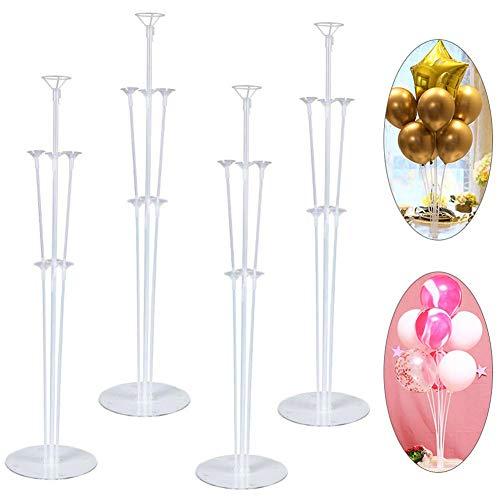 REYOK 4Pcs Ballon Stick Halter, Höhe Tischballonständer Kit mit Kunststoffstab Ballonständer,Luftballons Ständer Halter,Ballons Halter Sticks,Ballonzubehör,Ballonständer,Party Dekoration