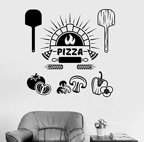 Etiqueta de la pared de los ingredientes de los alimentos Pizza Restaurante italiano Cocina Decoración interior Cocina Frigorífico Ventana Vinilo Pegatinas Mural artístico 42x43 cm