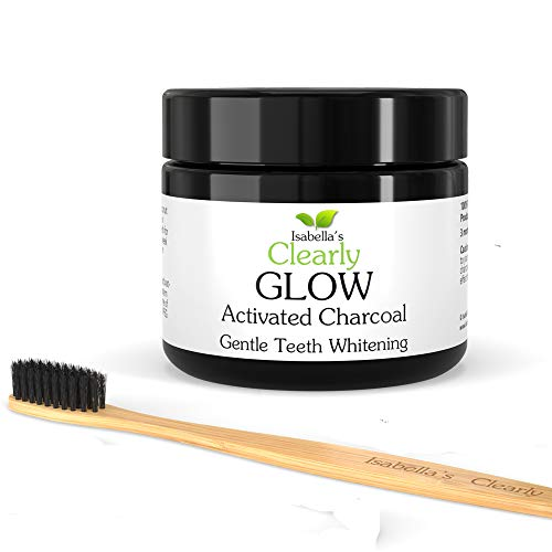 Clearly GLOW Teeth Whitening Activated Charcoal Powder + Soft Bamboo Toothbrush | Pure, Natural, Food Grade, Non GMO, Made in USA | Whiten Teeth Naturally. 20g, 3 Months Supply