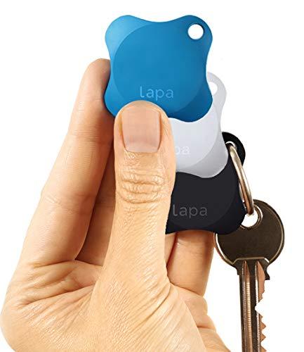Lapa 2 Bluetooth Tracker - Finden Sie Schlüssel, Geldbörse, Tasche, Haustiere und sogar Ihr Smartphone (Blau + Schwarz + Weiss)