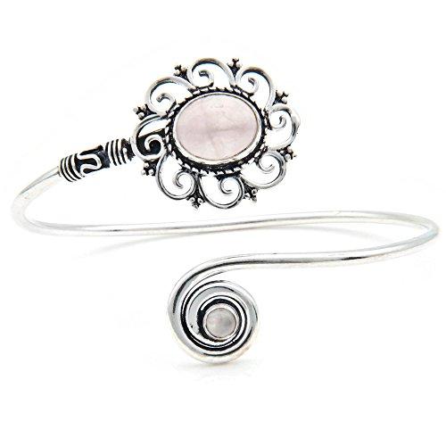 mantraroma Armreif Armband versilbert silbern Rosenquarz rosa (922-05-025-07)
