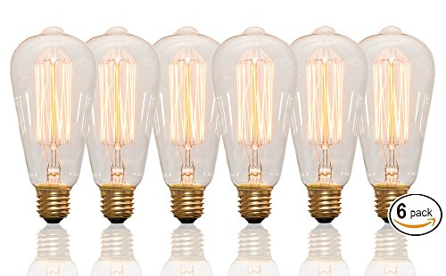Edison Bulbs Vintage 60 Watt Light Bulbs - 6 Pack - Squirrel Cage filament - 120 Volt - ST64 - 240 lm - 2100 kelvin - Clear bulb - Dimmable - Antique Vanity - Incandescent - Chandeliers Restaurants