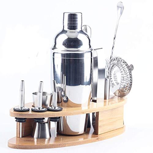 RRFZ Juego de 11 piezas de acero inoxidable coctelera taza tapón de botella cuchara clip Muddler Bar herramientas con vino coctelera set
