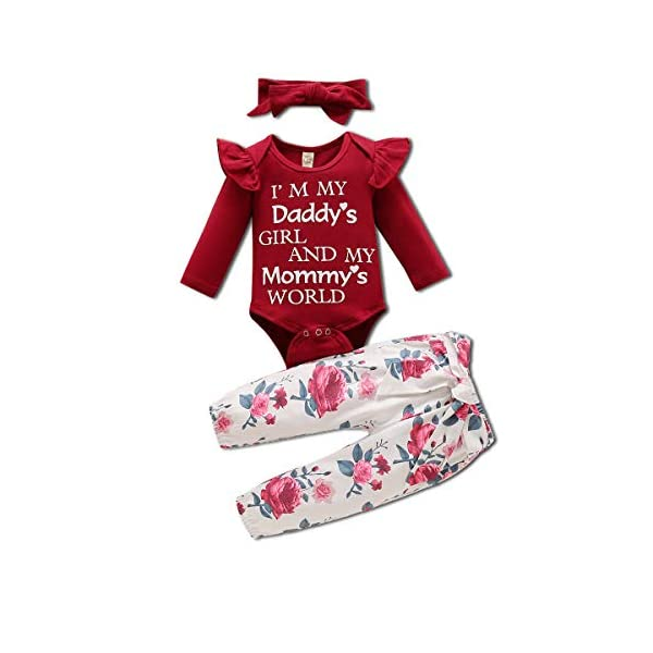 Aweyoo Newborn Baby Girl Clothes Ruffle Romper Floral Pants Set Bowknot Headband