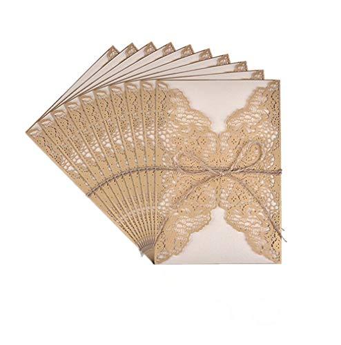 Tarjetas de Invitaciones,10 Pack Vintage Tarjeta de Invitación de Boda Set Incluir Retro Corte láser,Blanco Hojas Interiores Papel Kraft,Sobre y Hilo de Yute para Fiesta Cumpleaño Aniversario Navidad