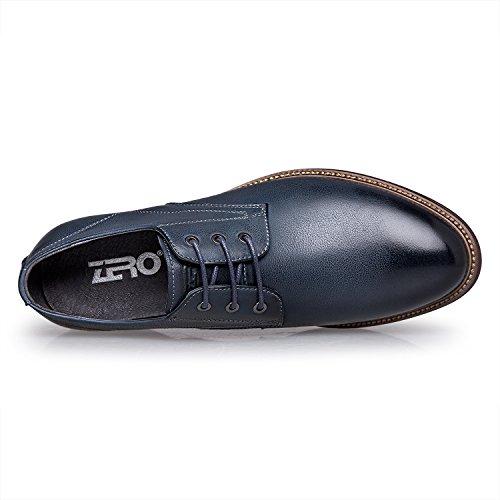 ZRO Men's Premium Genuine Leather Casual Lace-up Shoes Blue US 7
