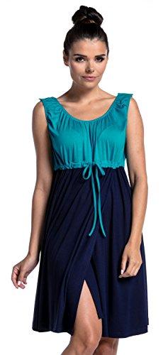 Zeta Ville - Grossesse Allaitement 3en1 Robe Accouchement Livraison - Femme 118c (Aqua & Marine, 44-46, 2XL)