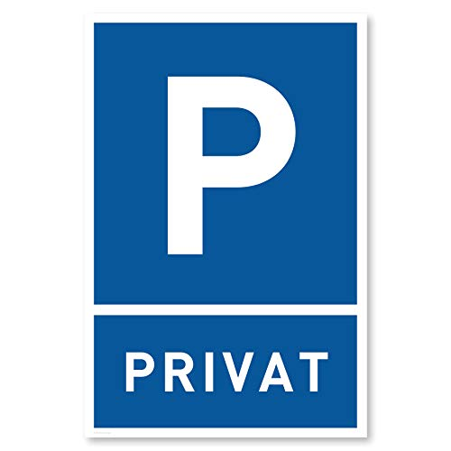 Privatparkplatz Schild (30x20 cm Kunststoff) - Parken Verboten Privat - Klares Zeichen setzen - Parkplatz Schilder Privatgrundstück - Leicht zu montieren (Blau)