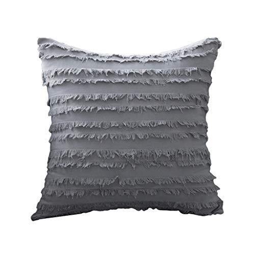 YOKING - Almohada de algodón y lino de estilo bohemio gris claro, bonito cojín con pompon, utilizado en la habitación, el salón, el comedor, la cama, el sofá