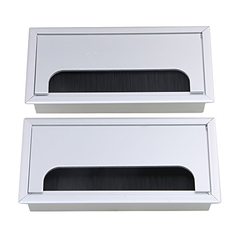 bqlzr-Aluminium Tisch Schreibtisch Rechteck Draht Kabel-Tülle Loch Outlet Port mit Bürste schwarz 2Stück