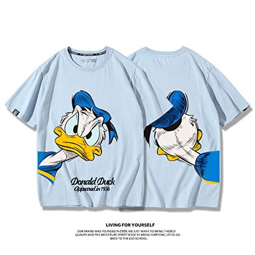 Disney Donald Duck T-Shirt, Sommer-Cartoons-Druck, T-Shirt, Jugendliche, Männer, Straßenmode, kurzärmeliges Sweatshirt für Paare, Outfit, Freundin, niedlicher Pullover Gr. XXXXL, blau