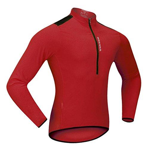 dailymall Maglia Da Ciclismo Bicicletta Da Ciclismo Giacca in Jersey a Maniche Lunghe Camicie Comode Magliette per Uomo Donna Sport Estivi All'aria Aperta - Rosso, L