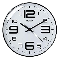 Plumeet Silent Wall Clocks - 12 Non-Ticking Quartz Large Decorative Clocks - Big 3D Number Good for Living Room Home Office Battery Operated (White)