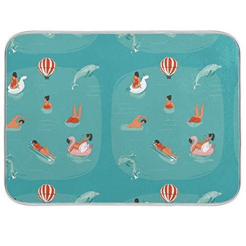 Ghypt - Escurridor para platos de cocina, diseño de delfín, flamencos, absorbente, microfibra, antideslizante, secado rápido, lavable, para el hogar, 40,6 x 45,7 cm