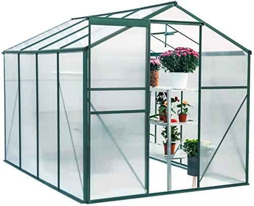 Transparentes POLYCARBONAT-TROTELHOUSE Großstufen-Schritt-Treibhaus-Gartenpflanze mit Schiebetüren gepflanzt,Green