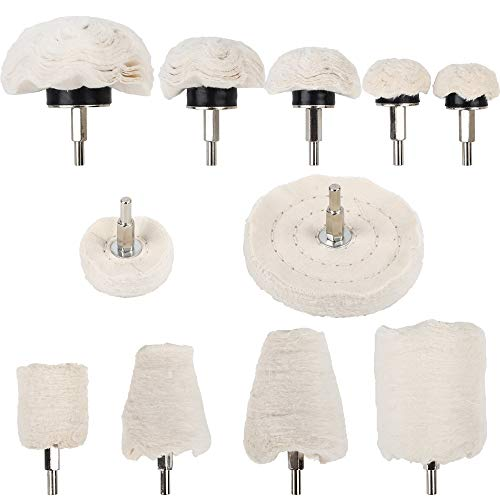 Benavvy 11Pcs Buffing Wheel for Drill, Polishing Wheel Kit with 1/4 inches Hex Shafts for Manifold/Aluminum/Stainless Steel/Chrome