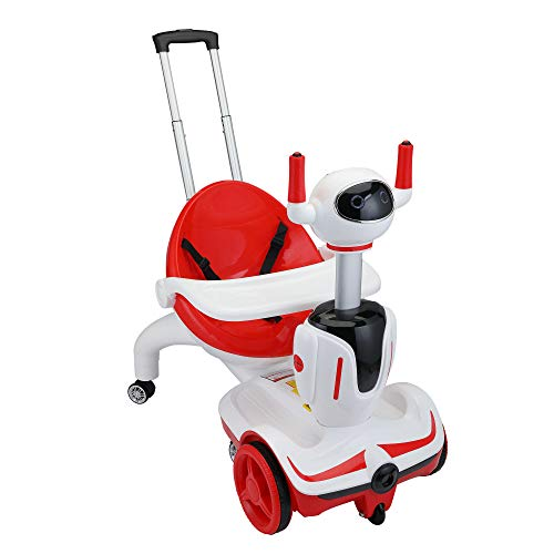 TOBBI Three-in-one Kid's Electric Robot Buggy Toy Car Vehicle Children's Carriage w/ Remote Control, Speed Adjustment and Emergency Stop, Red + White