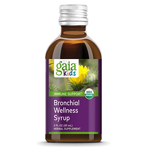 Gaia Herbs, GaiaKids Bronchial Wellness Syrup, Immune Health, Soothing Throat and Respiratory Support, Organic Honey Lemon Flavor, Physician Formulated, 3 Fluid Ounces