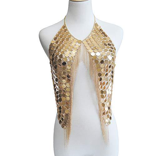 XHXMM Femme Licou Scintillant, Costume de Danse du Ventre, Haut de Soutien-Gorge de Danse Latine,d or