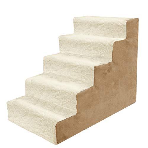 Escalera de Mascota BWZF Escaleras para Perros de 5 escalones para Cama Alta y sofá Alto, Escalera de rampa para Mascotas para Gatos/Perros de hasta 5 kg, con Cubierta de Tela Lavable a máquina extr