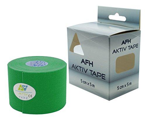 Kinesiologie Tape | Breite: 5 cm | Länge: 5 m | Aktiv Tape auf Baumwoll Basis | Farbe: grün