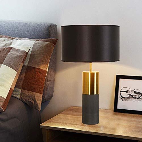 SHENLIJUAN Tela Negro Dormitorio Estudio de Noche Mesa de la Sala Negro lámpara de Mesa Lámparas de iluminación 7W (Color : Negro)