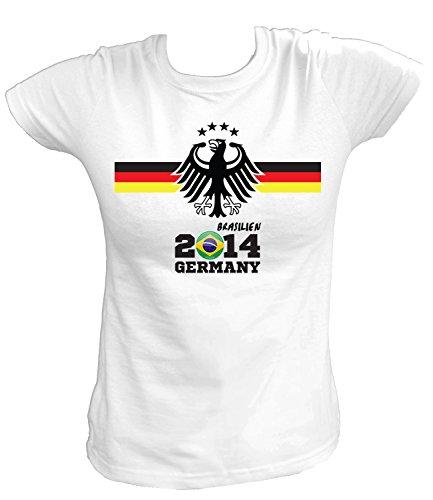 Artdiktat Damen Deutschland Fan T-Shirt - Fussball Brasilien 2014 Germany - Trikot Ersatz - Wunschname und Nummer Größe S, weiß