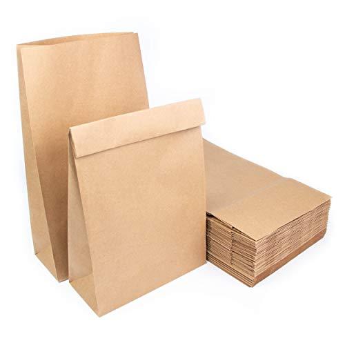 Lote de bolsas de bolsa de papel Kraft sin asa 34,5x20x9cm Bolsas reciclables para alimentos u objetos (50)