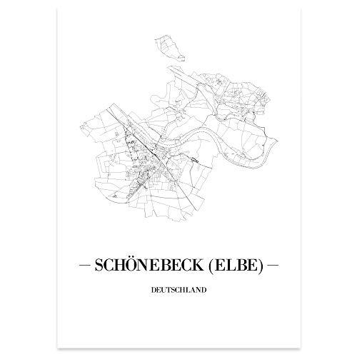JUNIWORDS Stadtposter - Wähle Deine Stadt - Schönebeck (Elbe) - 60 x 90 cm Poster - Schrift A - Weiß