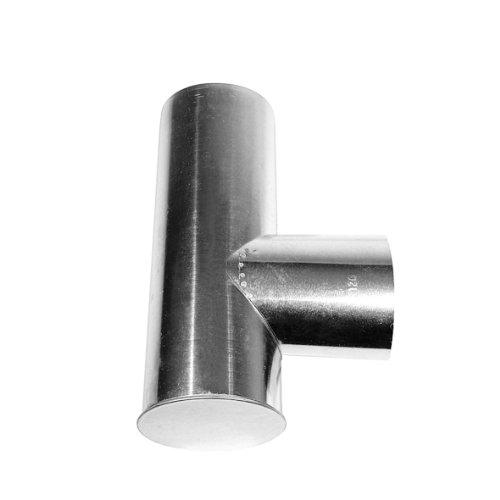Kamino Flam Kapselknie (T-Stück aus feueraluminiertem Stahl, rostfreies Rauchrohr als Verbindung zwischen Ofenrohren, geprüft nach Norm EN 1856-2, Maße: ca. Ø 130/130 x L 330 mm) silber