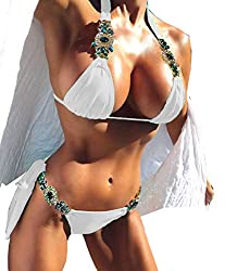 White-2 Sequins 2PCS Bikini Set Tankini Sexy Bra Swimsuit