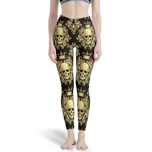 NeiBangM Skinny Yoga Pant Damen Skull Trainingshose für Laufen White 4XL