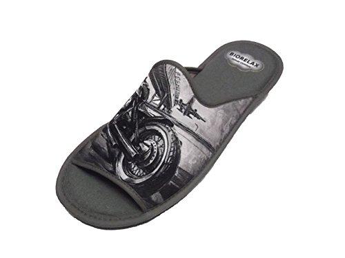 Zapatillas de Estar por casa/Biorelax/Hombre/Primavera-Verano/Dibujo Moto/Puntera Destapada/con Cámara de Aire/Talla 42