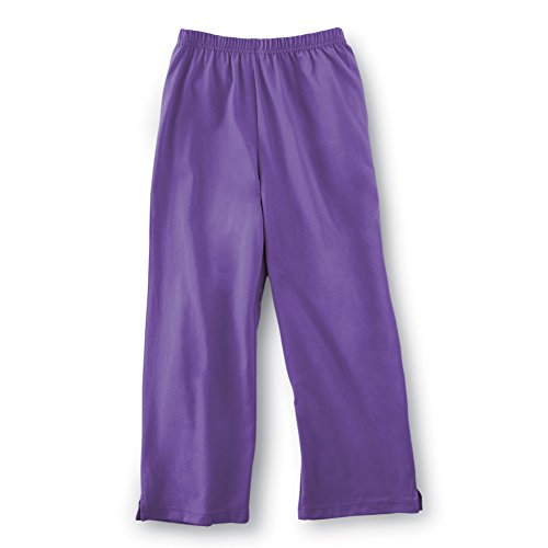 Collections Etc Women's Elastic Waist Comfortable Cropped Capri Pants, Purple, Medium