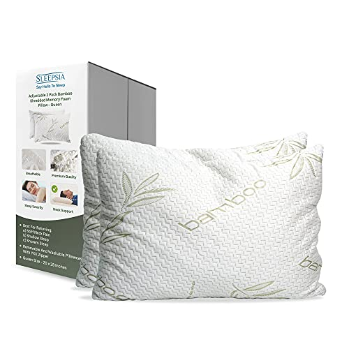 Bamboo Pillow - Shredded Memory Foam Pillow - Premium Pillows for Sleeping with Washable Pillow Case - Adjustable (2-Pack) (Queen)