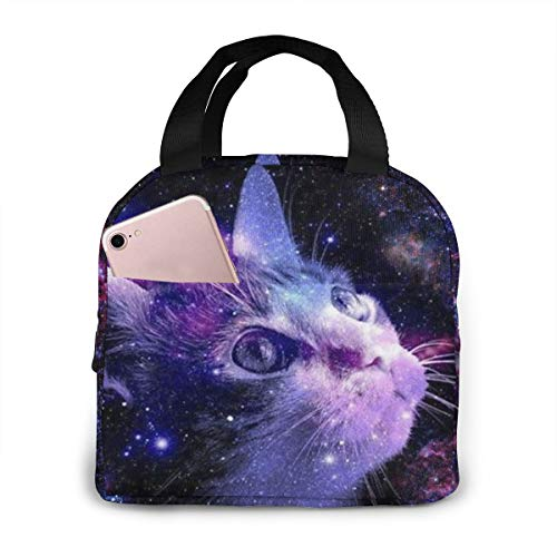 PrelerDIY 3D Galaxy Cat Lunch Box Insulated Meal Bag Lunch Bag Reusable Snack Bag Food Container for Boys Girls Men Women School Work Travel Picnic