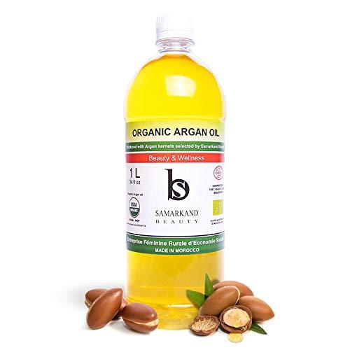 1 Liter Arganöl BIO 100% Rein Kaltgepresst mit Öko- für Haut & Haar - Das Original aus Marokko