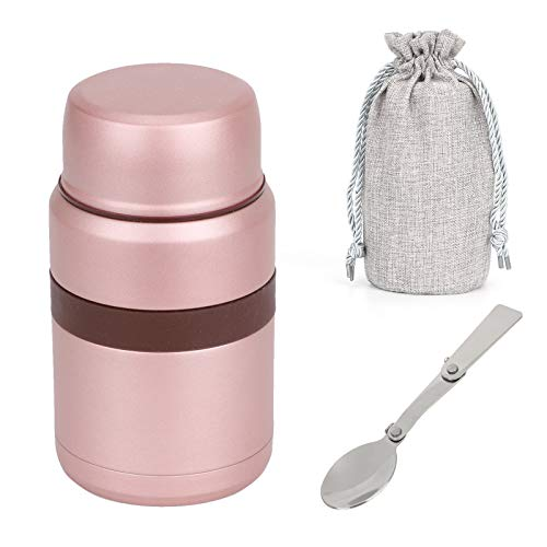 MorNon Hot Food Flask Vacuum Insulated,Stainless Steel Food Jar with Folding Spoon Storage Bag, Leakproof Food Container for Kids & Adults -500 ML,Pink