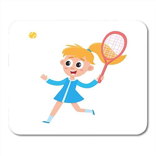 Mauspads Hübsches Mädchen im Sommerkleid Badminton spielen mit Ball und Schläger Cartoon auf weißem Porträt in voller Länge Mauspad für Notebooks, Desktop-Computer Büromaterial