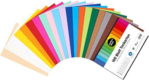 perfect ideaz 100 Blatt DIN-A5 Ton-Karton bunt, Bastel-Papier, Bogen durchgefärbt, 20 verschiedene Farben, 210g /m², Foto-Zeichen-Pappe zum Basteln, buntes Blätter-Set farbig, DIY-Bedarf