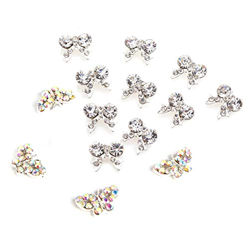 SNOWINSPRING 10 Pcs Bow Tie 3D Clear Rhinestone Nail Art Decoration & 10Pcs Beads 3D Alloy Nail Art Slices Glitters