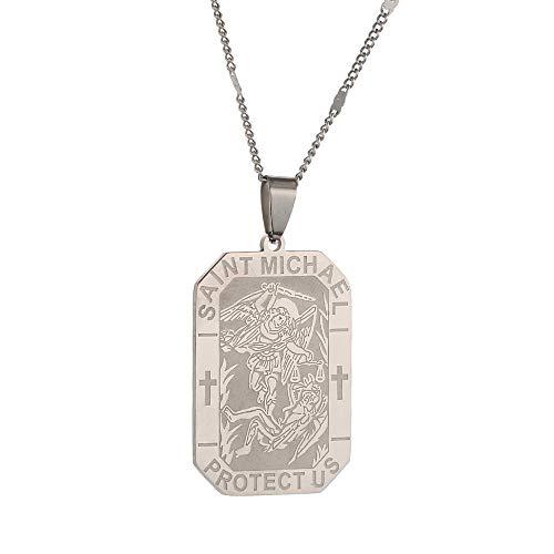 Collar de San Miguel de Acero Inoxidable Grabado Personalizado San Miguel Arcángel Cadena Joyería-Plateado