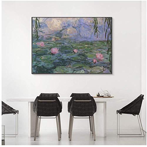 Kunst Ölgemälde Landschaft Lotusblatt Bilder Leinwand Malerei Plakate und Drucke Plakate Wandbilder Für Schlafzimmer 40x50cm No Frame Lotus