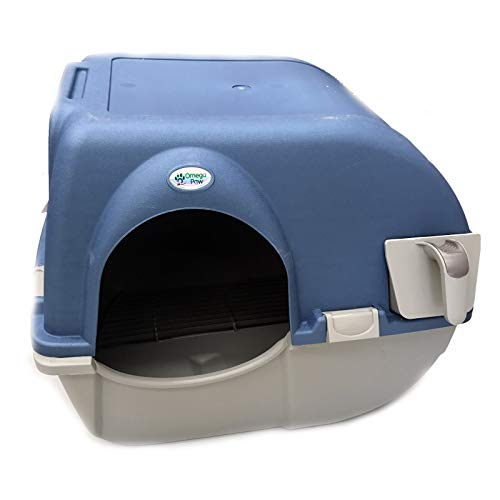 Omega Paw Roll n' Clean Katzentoilette Katzenklo selbstreinigend Large, Farbe:Blau