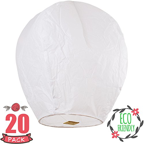 Sky High  Fully assembled and Fully biodegradable Chinese lanterns, 20-pack,...